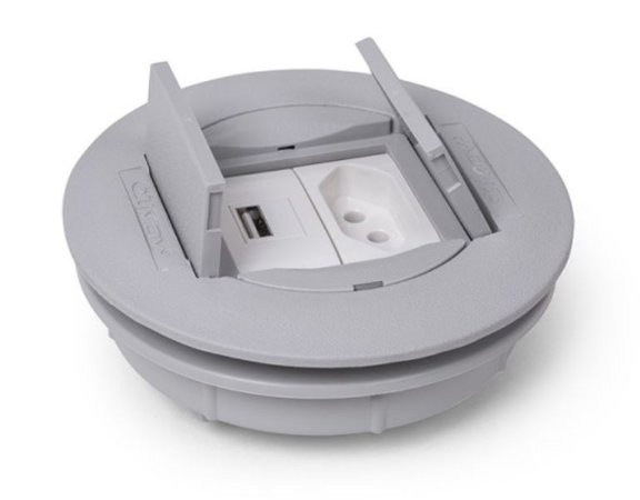 Tomada Redonda Para Mesa + Carregador USB 2.1A - QMF2-M1