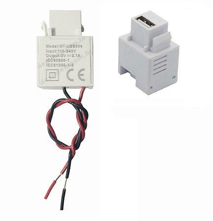 Carregador USB 2.1A Padrão Keystone Para Espelho 4x2