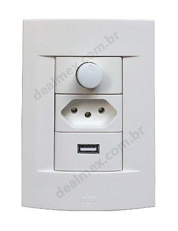 Dimmer Rotativo Com Tomada e USB Carregador 1.5A - SH1