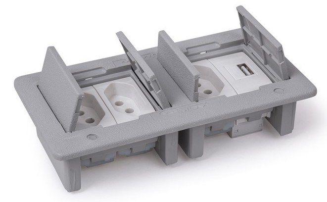 Caixa De Tomada Para Mesa Com Carregador USB 2.1A - QMF4-M21