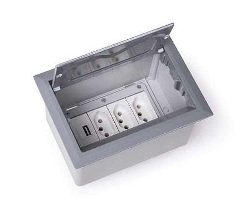 Caixa de Tomada Para Embutir + Carregador USB 2.1A - QM40-M10