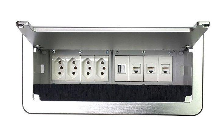 Caixa De Tomada Para Mesas De Reunião Completa QM26-M84