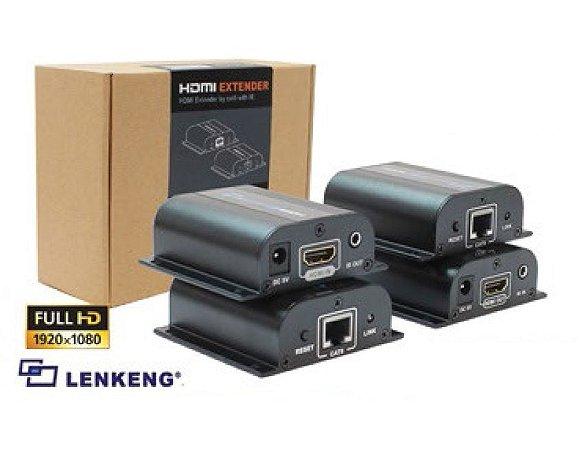 Transmissor Hdmi Via Cat5 Para 60M TX e RX + IR