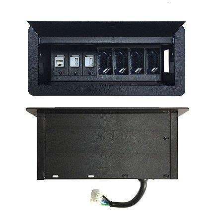 Caixa De Tomada Para Mesas Reuniões Multi Conexões - DMEX08-M19