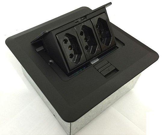 Tomada Para Mesa Com 3 Tomadas Elétricas - QMP3-M2