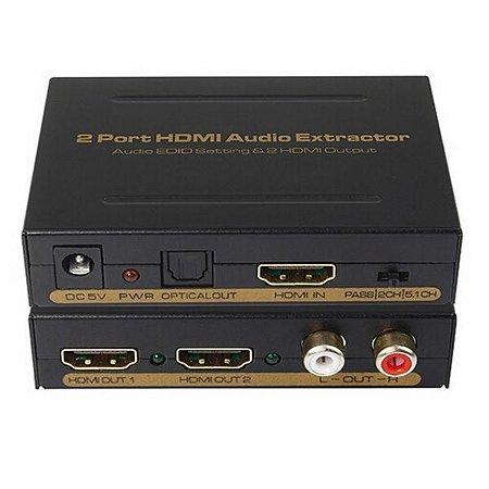 Video Splitter HDMI 1x2 Com Extrator de Audio RCA Optico