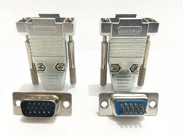 Capa Metalica DB15 Com Conector HD15 2 Kits - Connfly