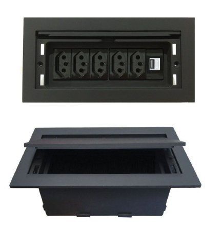 Caixa De Tomadas Para Mesa + Carregar USB 2.1A - QMF6-M36