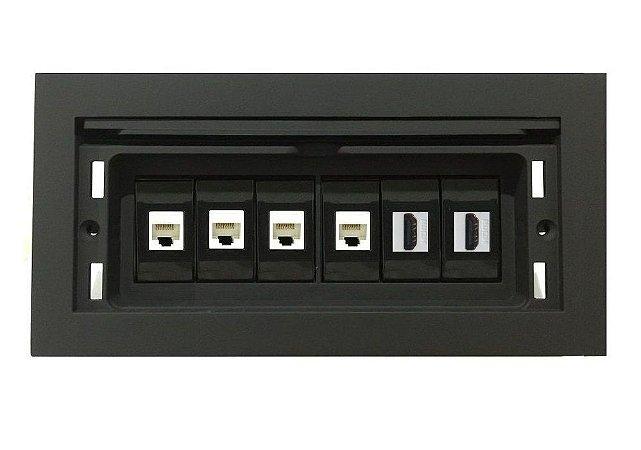 Caixa Painel De Conexões Para Mesa Reuião Rede, HDMI - QMF6-M30