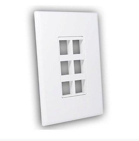 Painel de Parede 4x2 Para 6 Conexões Keystones