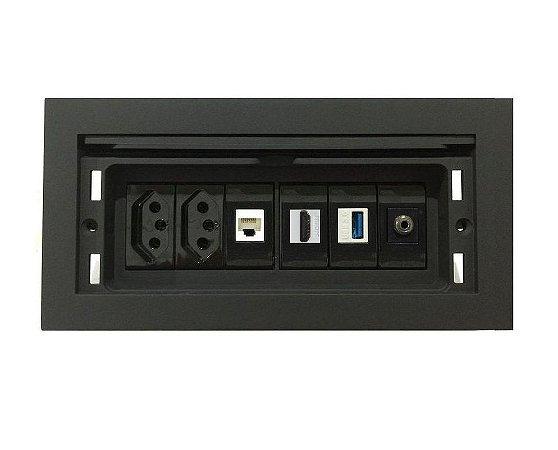 Caixa Multi Conexões Para Mesas Completa QMF6-M21