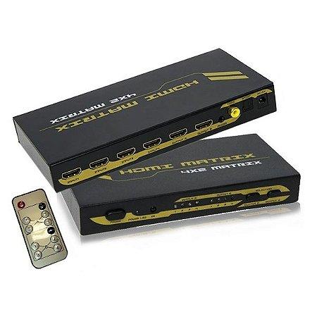 Matrix De vídeo HDMI 4x2 Saidas Com Áudio Analógico e Digital