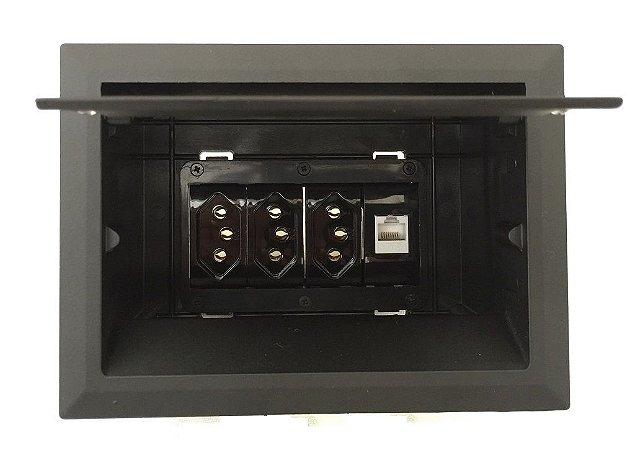 Caixa Painel De Mesa Open Box Com 3 Tomadas 1 RJ45