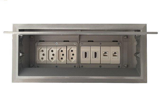 Caixa De Conexões Para Mesa 4 Tomadas, 2 HDMI, 2 RJ45