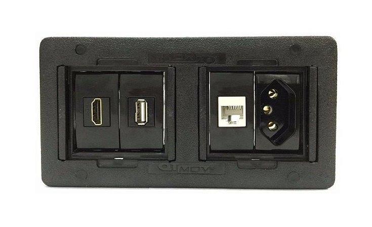 Caixa de Tomada Simples Em ABS  Completa - QMF4-M16
