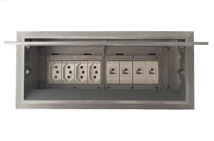 Caixa Painel De Mesa Com 4 Tomadas, 4 RJ45 - QM175-M5