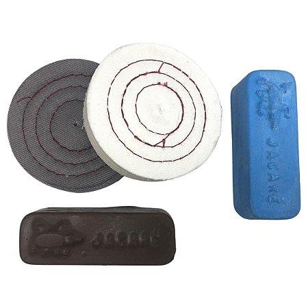 Kit Para Polir Pequenos Riscos Pastas E Rodas De Pano 7,5 Cm