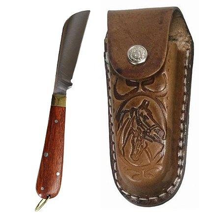 Canivete Pequeno Com Bainha De Couro Cabo Madeira Inox 15 Cm