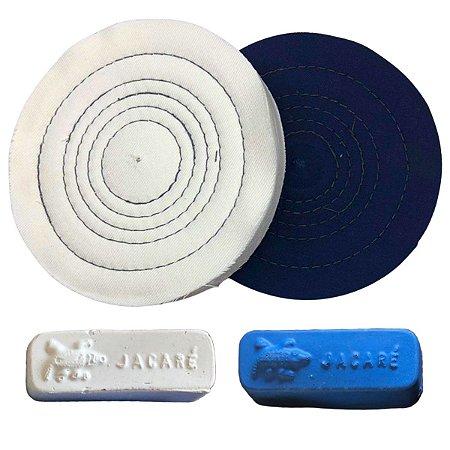 Kit Para Polir Alumínio Pastas De Polir Rodas De Pano 15 Cm