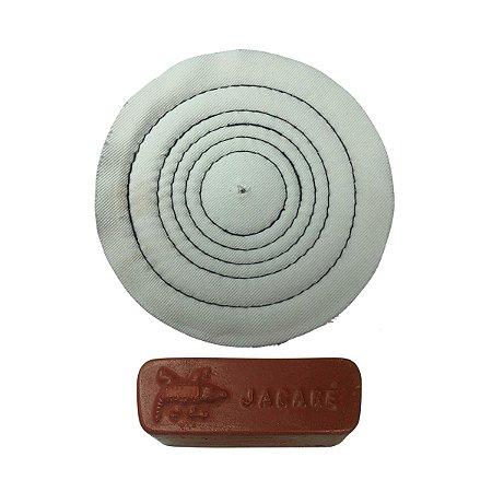 Kit Para Polir Ouro Prata Pasta Rouge Roda De Algodão 10 Cm