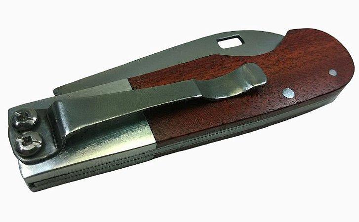 Canivete De Bolso Com Presilha Inox Cabo De Madeira 18 Cm