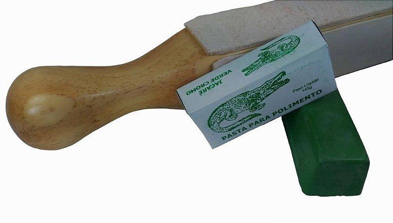 Strop De Couro De 4 Faces Com Pasta Polir Verde Cromo Jacare