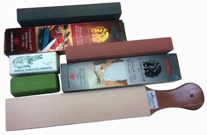 Kit Afiar Premium Plus Pedra Vaselina #320 #400 Strop Pasta
