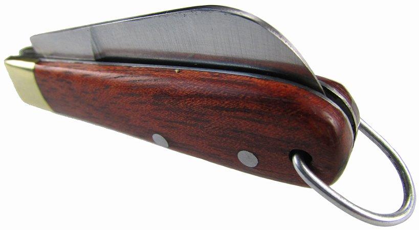 Canivete Chaveiro Modelo Cabo Madeira Lamina De Aço Inox 9 Cm