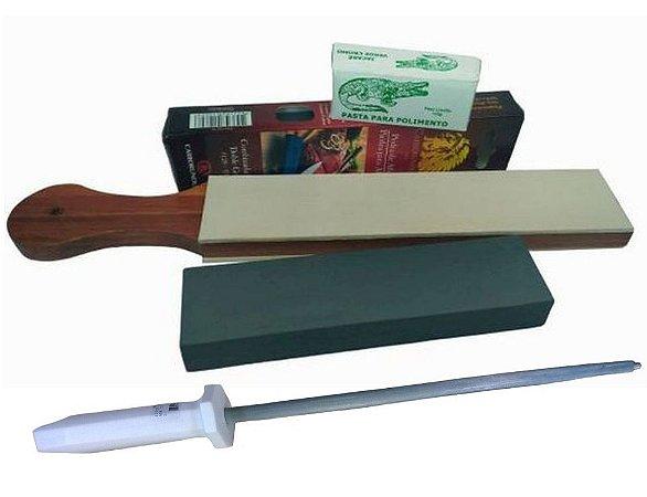 Kit Afiar Facas Super Strop Couro Pedra 320 Pasta E Chaira