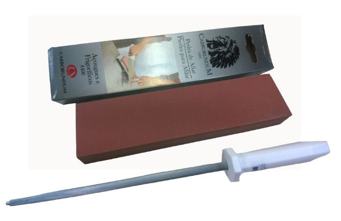 Afiador De Facas Kit Duo400 Com Pedra De Amolar 400 E Chaira