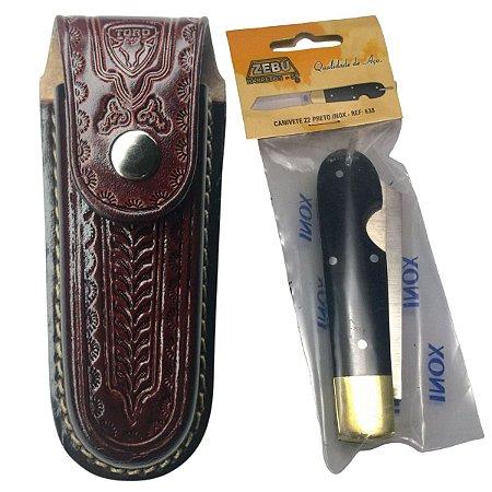 Canivete Zebu 638 Z2 inox Acrílico Preto Com Bainha De Couro
