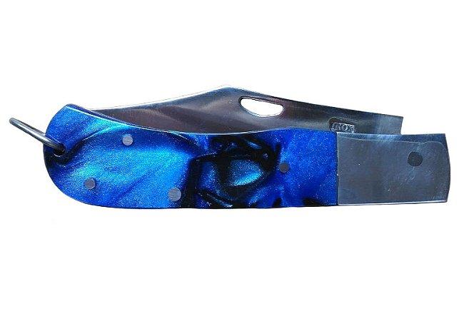 Canivete Cabo De Acrílico Azul Curvado Aço Inox Com Ponta