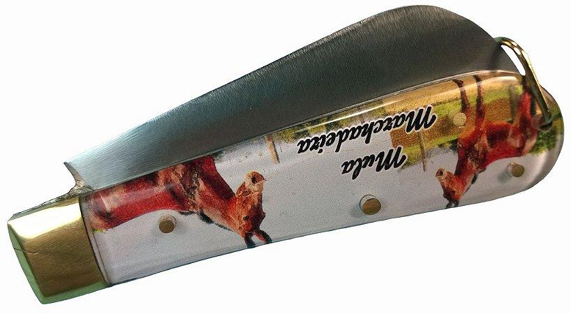Canivete Cabo Acrílico Transparente Com Gravura Inox 18 Cm