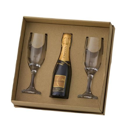 Kit 2 Taças Champanhe Gallant + 1 Chandon Baby 180 ml com Caixa Kraft