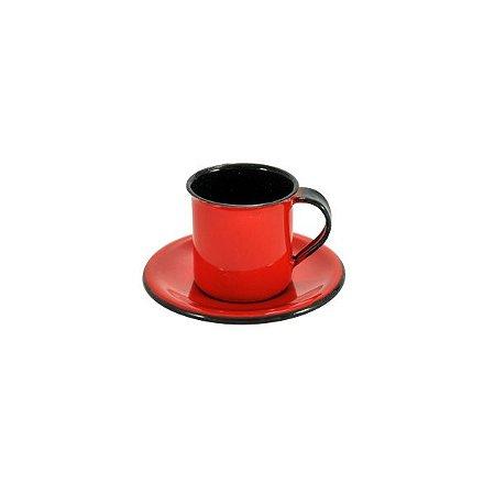 Xicara Cafe 70 ml com Pires Ágata Esmaltada