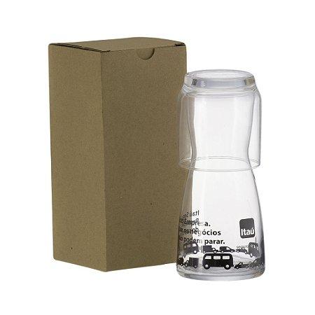 Kit 1 Moringa Vidro 500ml + Copo com Caixa Kraft