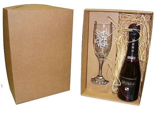 Kit 1 Taça Champanhe Gallant + 1 Espumante Mumm Baby com Caixa Kraft