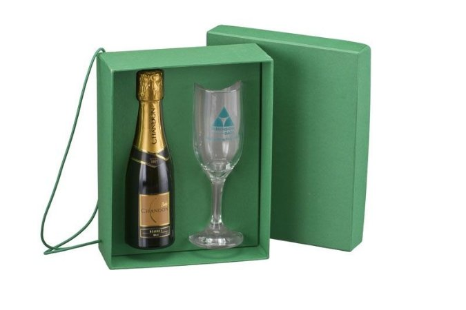 Kit 1 Taça Champanhe Gallant + 1 Chandon 180 ml com Caixa Berço Color Plus