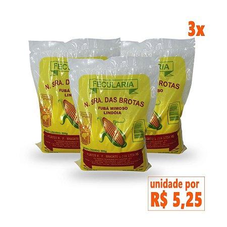 3x Fubá de Milho Amarelo Sem Glúten Fecularia 500g (validade: 23/08/2018)
