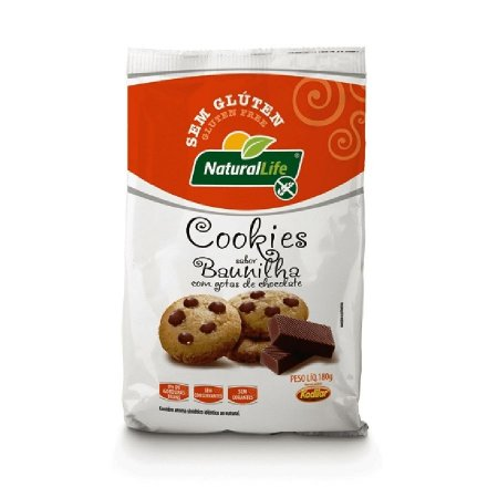 Cookies de Baunilha com Chocolate Sem Glúten Natural Life 180g(validade:31/10/2018)