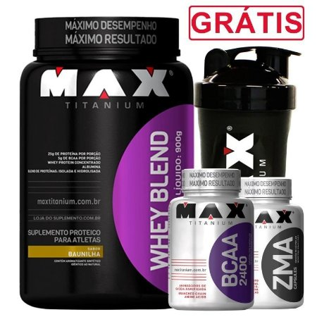 kit Whey Blend + Bcaa + Zma + Brinde - Max Titanium