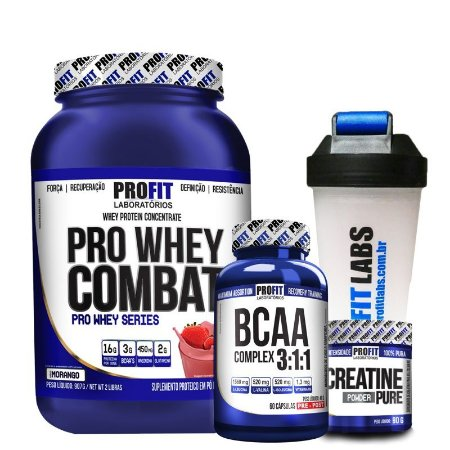 Kit Pro Whey Combat + BCAA Complex + Creatina + Brinde - Profit