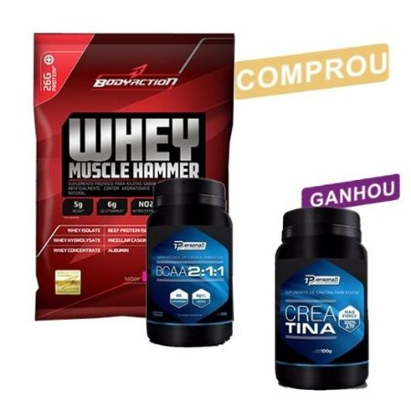 Kit com Whey Muscle Hammer (1,8kg) + BCAA (200g)