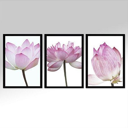 Kit 03 Quadros Decorativos -  Trio Flores