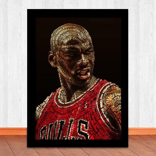 Poster com Moldura - Michael Jordan Tipografic