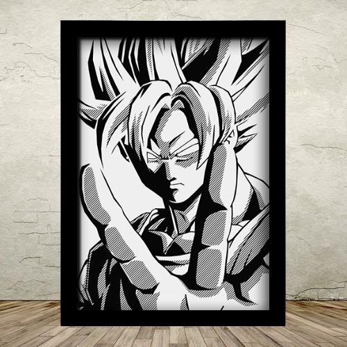 Poster com Moldura - Goku Dragon Ball Z Estilizado