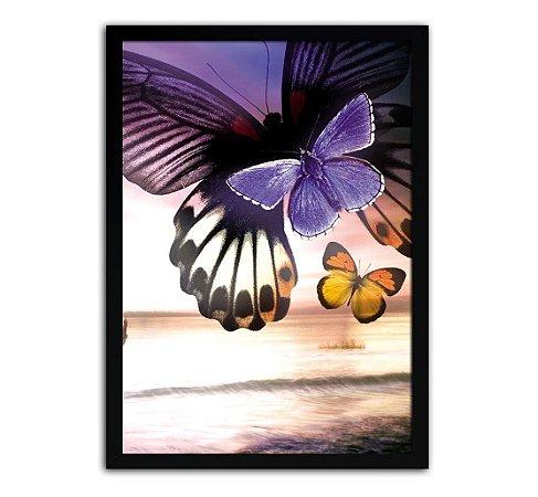 Poster Com Moldura - Borboletas Coloridas