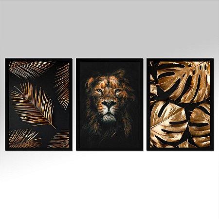 Kit 03 Quadros Decorativos - Trio Dourado Leão