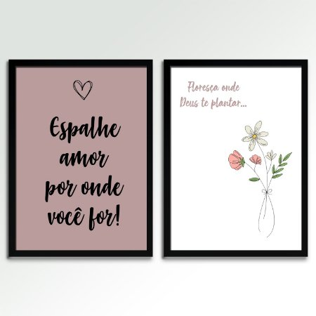 Kit 02 Quadros Decorativos - Espalhe Amor E Floresça Onde Deus Te Plantar