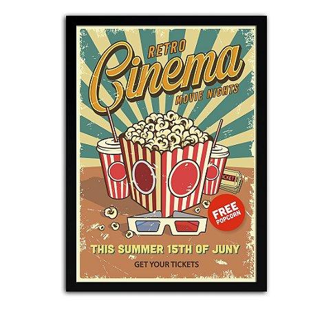 Poster com Moldura - Retrô Vintage Cinema